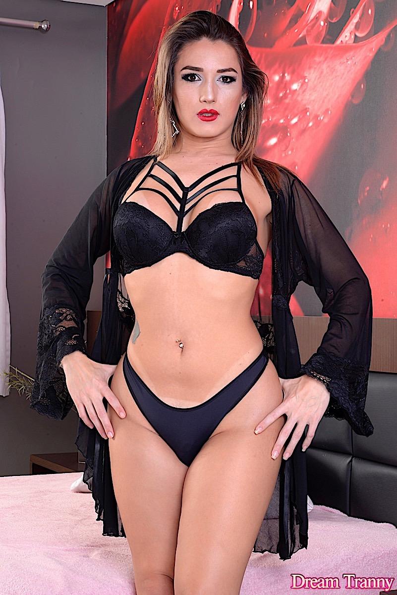 Horny Brunette TGirl Gaby In Lingerie