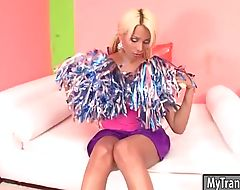 Huge tits blonde tranny Sheyna ass rammed on the couch