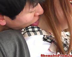 Lovely ladyboy schoolgirl anally drilled
