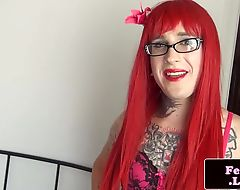 Inked redhead trans stroking her schlong