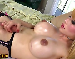Asian tranny gets cumshot in lingerie