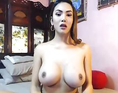 Gorgeous Big Boobs Shemale Jerking her Cock
