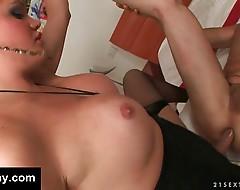 A big fat tranny cock up his ass