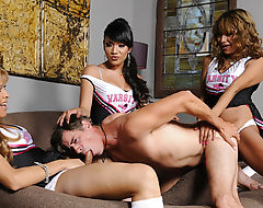 A Group Of Tranny Babes Bang A Guy