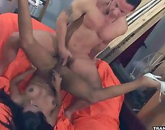 Ebony shemale Negra gets head before getting fucked