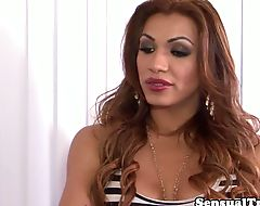 Latina trans cocksucked by lover