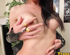Leather ladyboy cockriding in lingerie