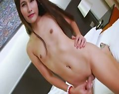 Perky tits tranny Bhoom jerking off her cock on the bed