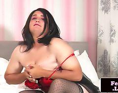 Latex tranny masturbating in stockings