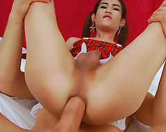 Asian shemale screwed in the asshole bareback on the bed