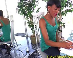 Black tranny beauty tugging her cock