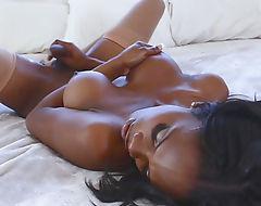 Black shemale Brooke Morgan masturbates her huge cock
