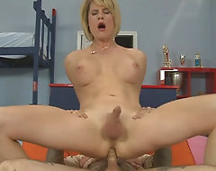 Busty mature blonde shemale Delia De Lion anal rammed