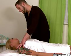 Trans beauty turned on during massage