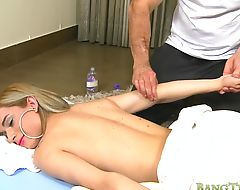 Pale TS Casey Kisses wanks her shedick while riding studs cock