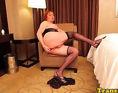 Redhead lingerie tgirl assfucks before facial