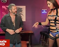 Dominated tgirl mistress makes sub suffer