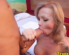 Busty trans tugging her cock while assfucked