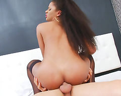 Busty latin tgirl and nasty guy anal sex bareback on the bed