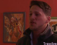 Trans babe tugs cumshot