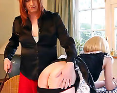 TGirl spanks blonde slut maids tight ass