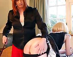 TGirl spanks blonde slut maids tight ass