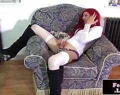 Redhead tranny stroking her pole until cum