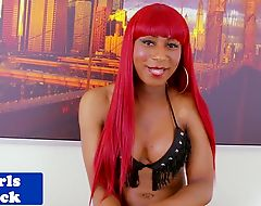 Black redhead tgirl goddess solo toying ass