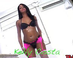 Latina tgirl face sprayed