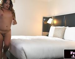 Chubby lingerie trap playing with her cock