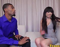 Classy ladyboy fucked by black dude