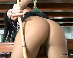 Tall busty tranny bangs in pool room