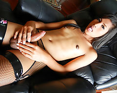 Small Tittied Asian Tgirl Gam Masturbates
