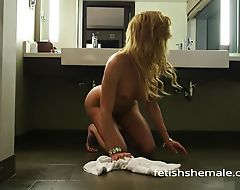 Jenna Tales Teases with her Shemale Feet in Tub