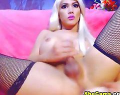 Blonde Shemale Hard Cock Masturbation Closeup