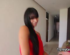 Behind scenes in tranny studio