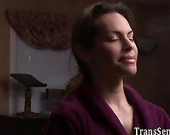Sucked trans babe banged