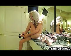 Tranny Huge Self Facial while Fucked by BBC