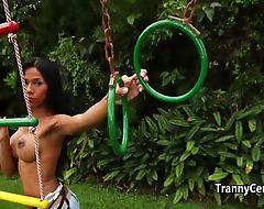 Tanned latina shemale playing until cumshot