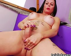 Tranny hottie Paula jacks her she cock while being nasty of cam