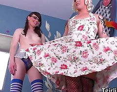 Pale TS Natalie and Isabella intense shemale sex action
