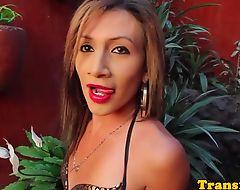 Latina trans toying her asshole and wanking