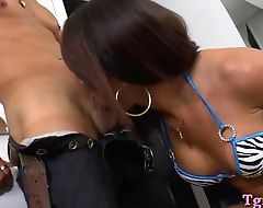 Big tits shemale Giselly Araujo fucked hard on her back