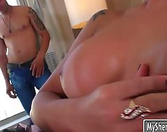 Huge boobs shemale Hellen Carvalho gets her ass railed