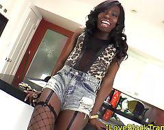 Solo ebony fishnet Tgirl strips and tease