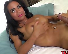 Ebony shemale cum covered