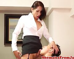 Japanese trans analfucked while jerked off