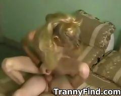 Hot blonde crossdresser fucking