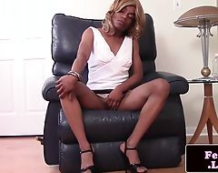 Black femboy pulling her cock hard