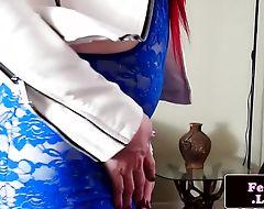 Tranny newbie jerking her cock sensually